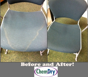 Chair Before and After Chem-Dry Cleaning
